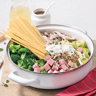 Linguines au jambon, brocoli et fines herbes - Recettes - Cuisine et nutrition - Pratico Pratique
