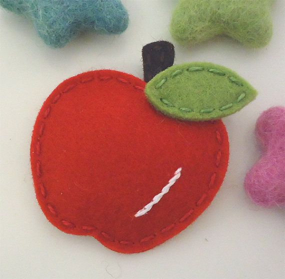 NO SLIP Wool felt hair clip Apple mini red by MayCrimson on Etsy, $7.00