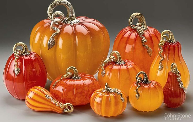 "Ruby & Gold Series, Hand Blown Glass Pumpkins and Squash — Mini 5""w to Giant 14""w"