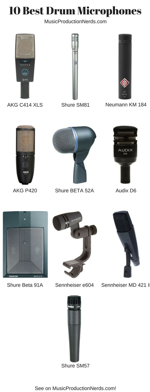 The 10 best drum microphones for studio and live stage performances for the money. Check it out! #studiomicrophones #microphones #drummics #musicproduction #homestudio