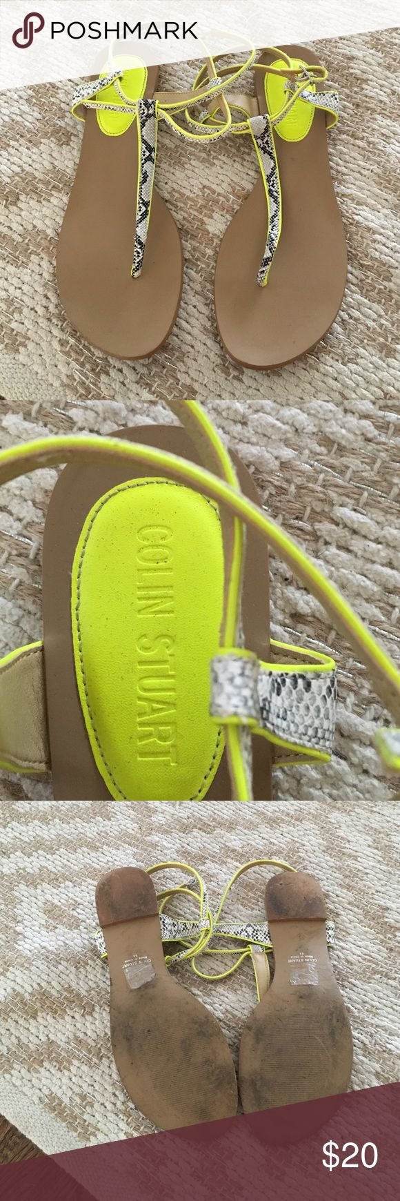 Colin Stuart yellow neon snake print flat sandals Wrap around closure. Colin Stuart Shoes Sandals