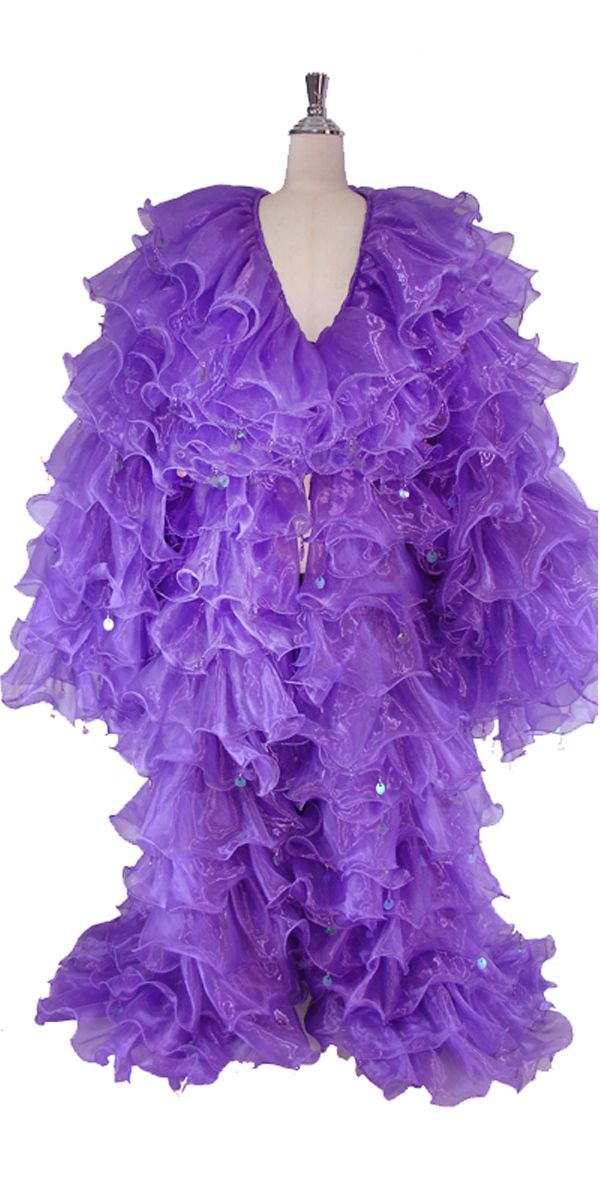 Long Organza Ruffle Coat with Long Sleeves and Highlight Sequins in Purple.