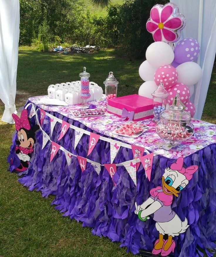 Pink and purple Minnie Mouse birthday party! See more party planning ideas at CatchMyParty.com!