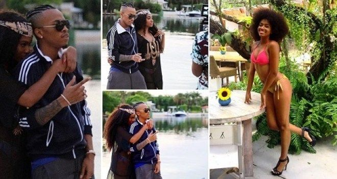 Tekno Cuddles US-Based Model As He Shoots Music Video In Miami (Photos)