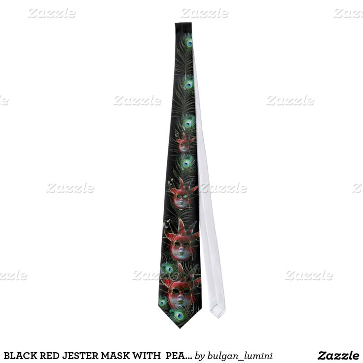 BLACK RED JESTER MASK WITH  PEACOCK FEATHERS TIE