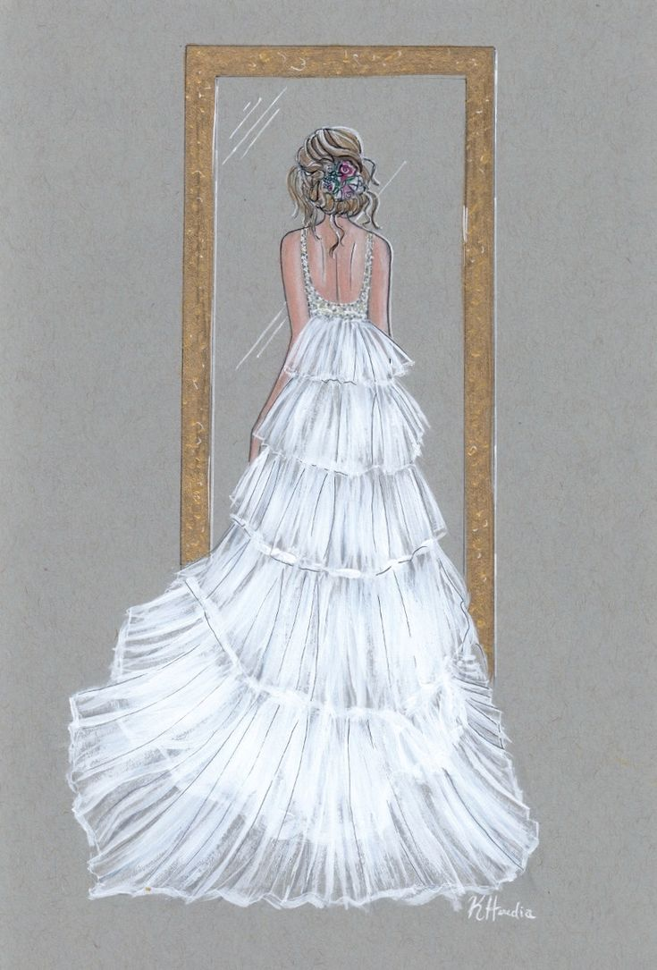 """Penelope Le Trésor -ORIGINAL - 9""""x12"""" - Wall Art - Bridal Illustration - Gifts for her - Wedding Dress - Contact for Custom by KristinaHerediaArt on Etsy"""