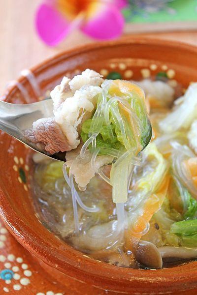 豚バラと白菜のエスニック春雨スープ☆