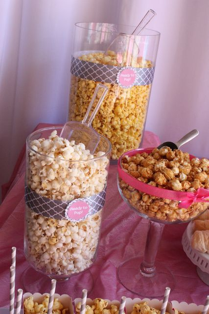 "Love the popcorn display at a ""ready to pop"" baby shower. See more party ideas at CatchMyParty.com. #babyshower #popcorn #pop"