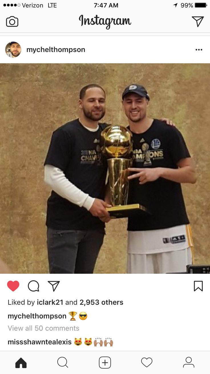 "Klay & Mychel Thompson pose with ""Larry"" GOLDEN STATE WARRIORS ARE THE 2016-2017 NBA CHAMPIONS!!! #dubnation #forthebay #strengthinnumbers #"