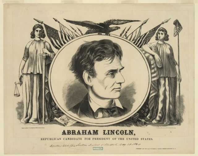 Images of Abraham Lincoln and the 1860 Campaign for President: An 1860 Campaign Banner With Lincoln's Portrait