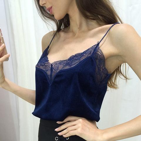 Pink Lace Slip Style Velvet Camis Sexy Velour Tank Top Women Casual Blouse Cheap Clothes China feminino mono mujer corto Tee E