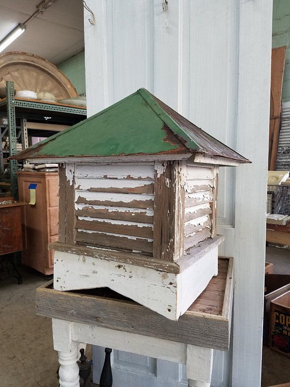Antique Cupola Old Roof Topper Antique Roof Topper Barn Vent Antique Roof Vent Salvaged Wood Accent Architecture Salvage Green And White Cupolas Roof Paint Rustic Shed