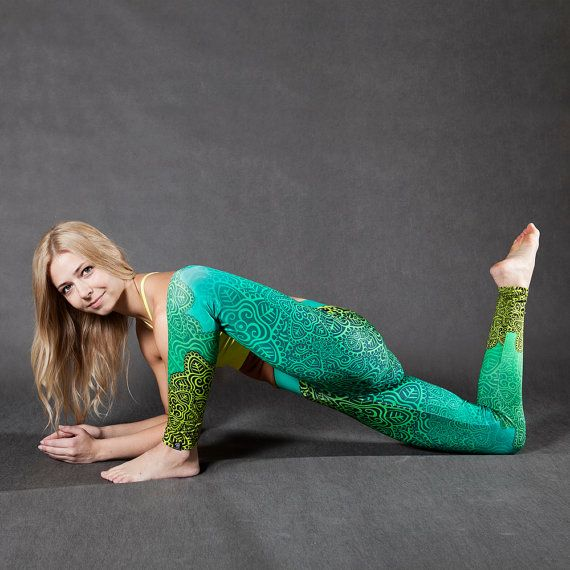 Printed LEGGINGS Maria for Yoga Fitness Pilates Dance ACTIVEWEAR (pink or green)