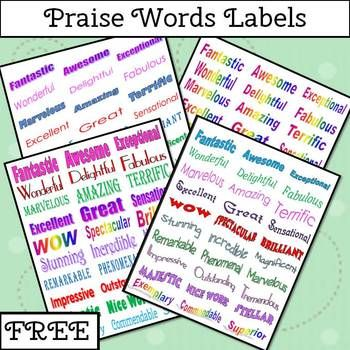 FREE Students love getting praise and stickers but sometimes it is hard to find something age appropriate for older kids. 30 praise words have been jazzed up with color and fonts. Use these labels on graded papers or stick them in a student's planner. It is easy to print. Just use use Avery 5160 address labels.