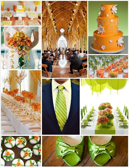 orange and lime green wedding  this is so pretty!