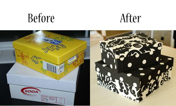 Turn my old shoe boxes into cute storage boxes with scrapbook paper. I have some nice wall paper this would workk with...