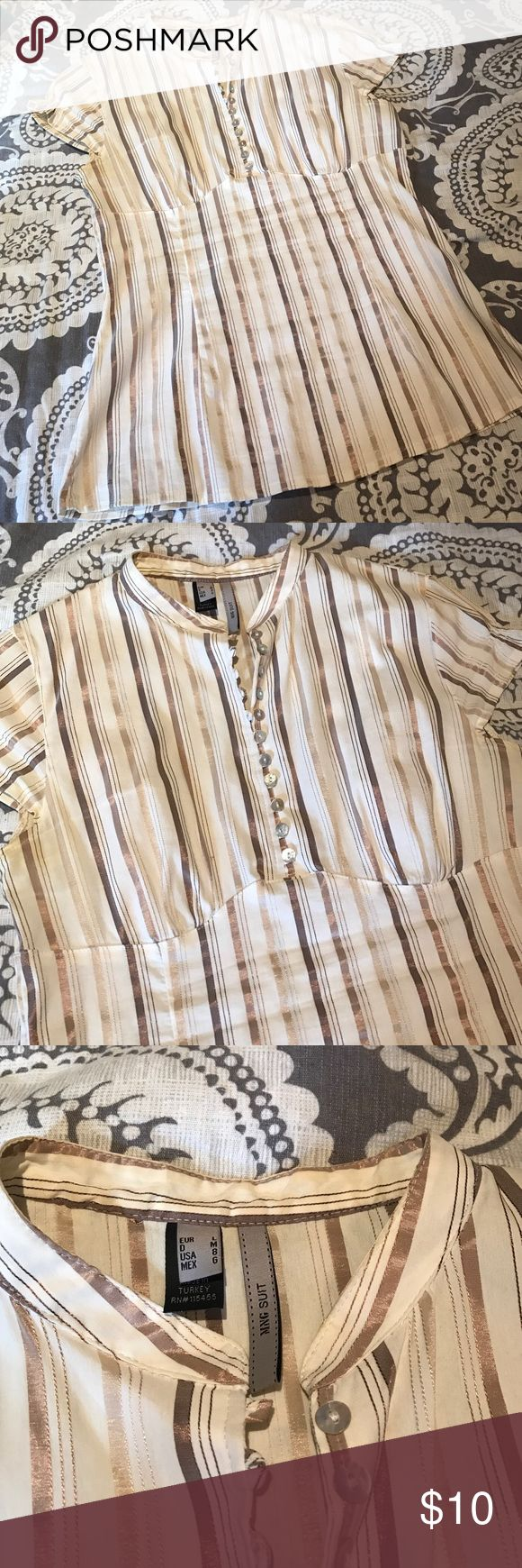MNG silky dreas top 💟 excellent condition mango silk stripped top womens size 8 Mango Tops Blouses