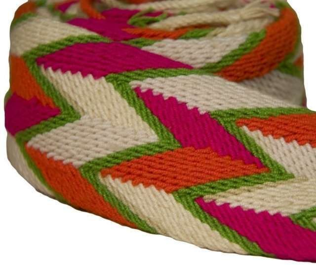 Wayuu Belt Colombia - Wayuu belt from Colombia. Wear tied or with a lace through a buckle. (Buckle not included.) Weaving is a symbol of wisdom and creativity among Wayuu women. Find the belt that expresses your individuality with a unique color palette and combination of geometric patterns.
