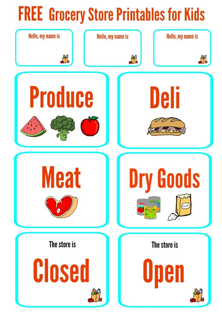 Free Grocery Store Printables for Kids for Dramatic Play