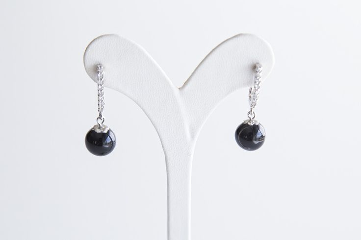 Earrings from Onyx with silver and zircon- Price:32.00€