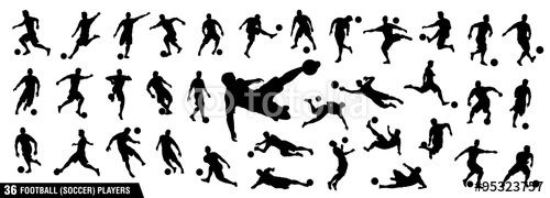 "Download the royalty-free vector ""vector set of football (soccer) players 1"" designed by ednal at the lowest price on Fotolia.com. Browse our cheap image bank online to find the perfect stock vector for your marketing projects!"