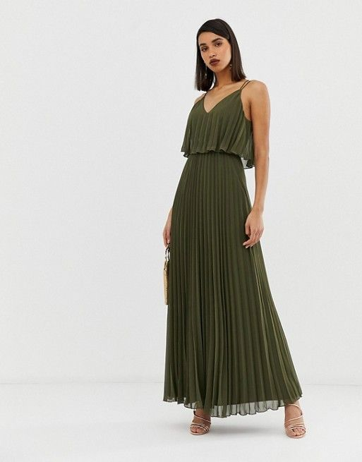 1f004fb127 DESIGN pleated crop top maxi dress in 2019 | Pleated | Asos dress