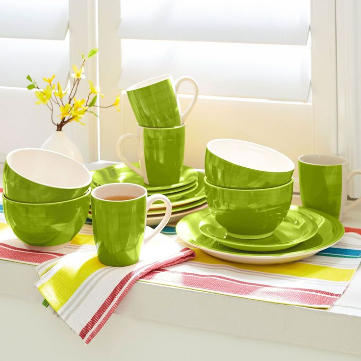 Our 16-pc. hand-painted, solid stoneware dinnerware lets color live in style that's unique and creative. This matching set, in either solid red or yellow, will liven up your kitchen countertop and dinning table with a touch of southwestern flair.   • hand-painted stoneware • microwave and dishwasher safe   Set Includes: 4 10¼'' dinner plates, 4 7¼'' salad/dessert plates, 4 20-oz. bowls, 4 10-oz. mugs &a...
