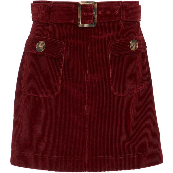 ALEXACHUNG Belted Corduroy Mini Skirt ($405) ❤ liked on Polyvore featuring skirts, mini skirts, burgundy, corduroy skirt, burgundy corduroy skirt, waist belt, vintage waist belt and red short skirt