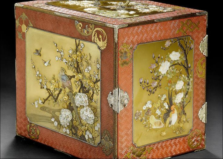 A silver, tsuishu lacquer and Shibayama-inlaid kodansu Kodansu.The exterior inset with four kinji panels lavishly embellished in typical Shibayama inlay with different species of bird among a profusion of seasonal blooms, bordered by various geometric motifs and roundels lacquered in gold takamakie, reserved on a tsuishu ground carved with broken rinzu designs
