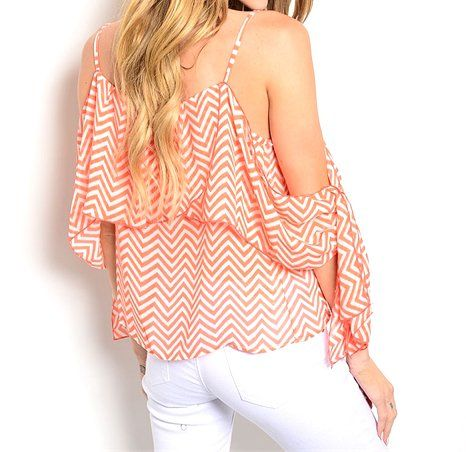 Ruffle+Off+Shoulder+Chevron+Top+Blouse