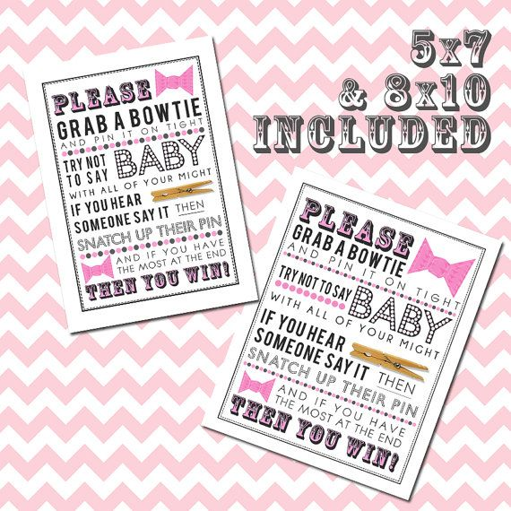 Pink Clothespin Game [with Bows] Printable For Baby Shower 5x7 U0026 8x10 PDF  Includes