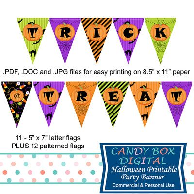 Trick Or Treat Ready-To-Print Halloween Party Banner by Candy Box Digital…