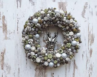 Christmas wreath door hanger xmas 2017 decoration deer rustic vintage natural