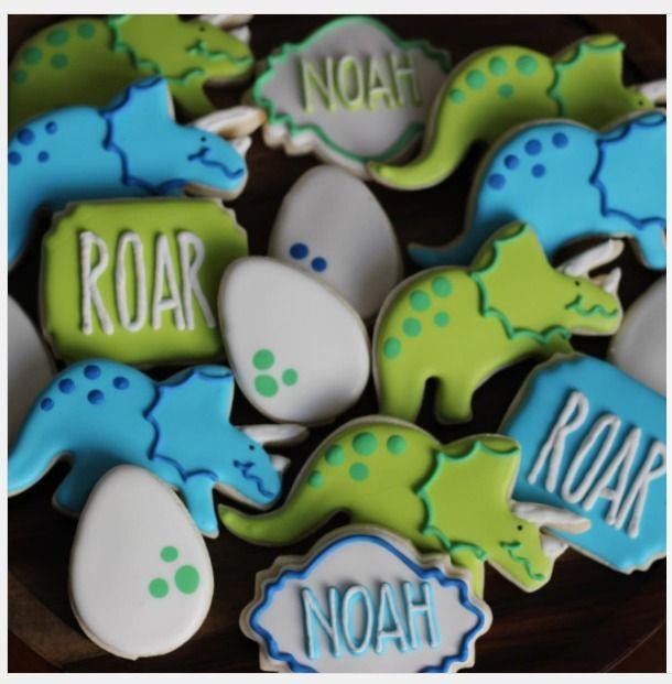 """gracefullysweet on Instagram: """"•R O A R ! !• #dinosaur #cookies #royalicing #dinosaurcookies #happybirthday #birthdaycookies #birthdayparty #roar #sugarcookies"""""""