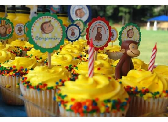i think i can make these myself...Curious George Inspired Cupcake Toppers. $9.00, via Etsy.