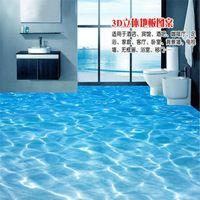 Modern painting bathroom Custom 3D floor mural Sea water ripples wear non-slip waterproof thickened self-adhesive PVC Wallpaper