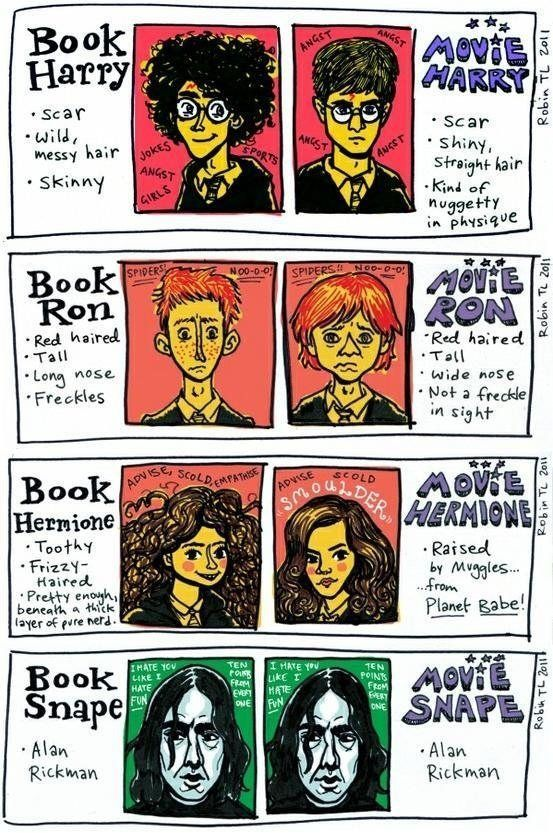 Harry Potter: book versus movie.  They forgot to mention book Harry has green eyes (like his mother's) and movie Harry doesn't.  However, I will forgive them :]