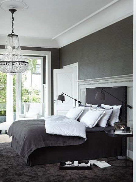 Dark walls  white trim  wingback chair and linens  chandelier  modern  bedside lighting  Bed RoomCharcoal BedroomGray. Best 25  Dark grey bedrooms ideas on Pinterest   Apartment bedroom