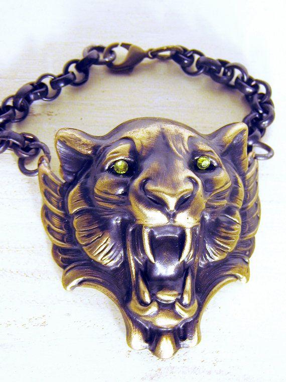 Lion Head Bracelet Lion Bracelet Cuff Bracelet by gilstrapdesigns