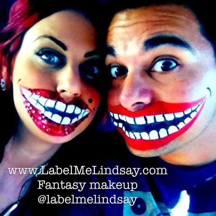 Easy Halloween makeup face painting giant smiles big lips painted smiles big smiling teeth
