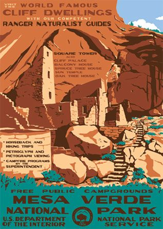 Mesa Verde National Park poster-- Mesa Verds is a U.S. National Park and UNESCO World Heritage Site located in Montezuma County, Colorado, near Four Corners. #nationalparks