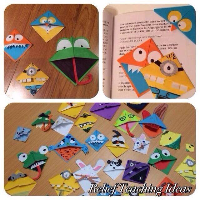 Folded paper corner bookmarks