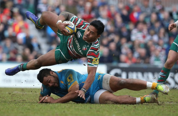 Manu Tuilagi of Leicester is brought down by Billy Vunipola during the Aviva Premiership match between Leicester Tigers and London Wasps at Welford Road on April 14, 2013 in Leicester, England. (April 13, 2013 - Source: David Rogers/Getty Images Europe)