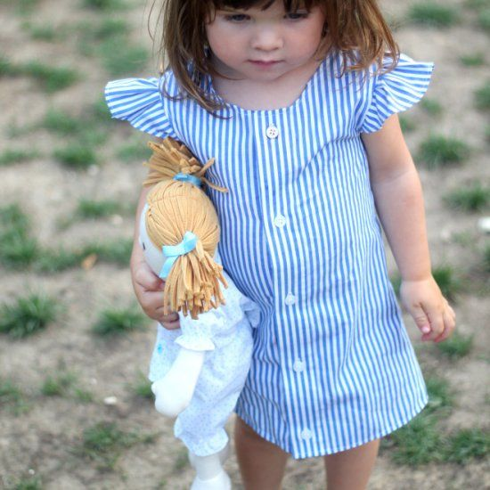 Upcycle a man's shirt into this cute dress with this easy to follow tutorial and pattern.