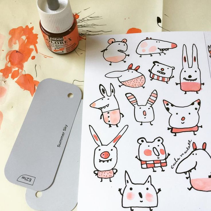 Doodle monsters and ink splotches!   Carla Martell