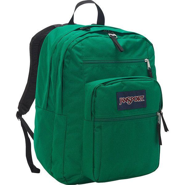 JanSport Big Student Backpack ($46) ❤ liked on Polyvore featuring bags, backpacks, green, school & day hiking backpacks, expandable bag, rucksack bag, knapsack bags, green bags and green backpack