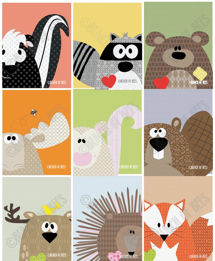 "Nursery / Kids Prints - Woodland Series of 9.  Woodland animals ""Headshots""."