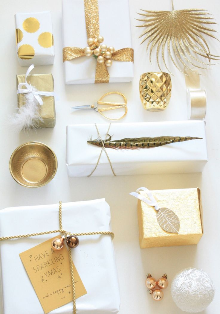 Beautiful white and gold gift wrapping. Inexpensive yet elegant