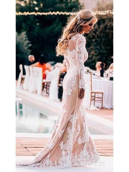 75ed13ee256e Long Sleeve Lace Applique Wedding Dresses Vintage Mermaid Wedding Dress  AWD1255-SheerGirl