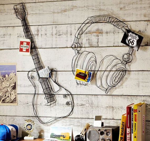 wire music decor for teen room music theme
